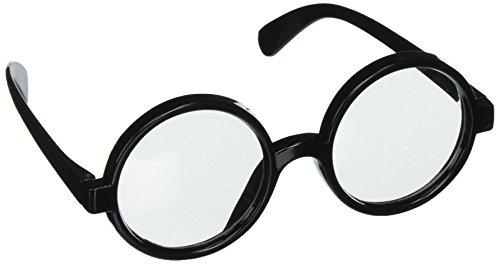 Star Power Men Wizard Quality Round Frame Glasses, Black, One Size (2in Lenses)
