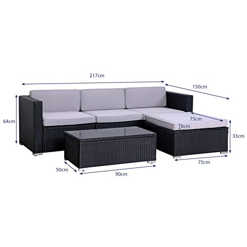 SVITA California Poly-Rattan Lounge Gartenset Sofa-Set Garnitur Gartenmöbel Couch-Set - 5