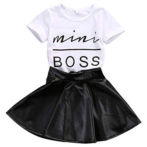 Baby Girls' Skirt Sets,Kids Girls Mini Boss Printed Tops T Shirt Tee + Mini Skirt Dress Outfits Clothes (White, 4-5 Years)