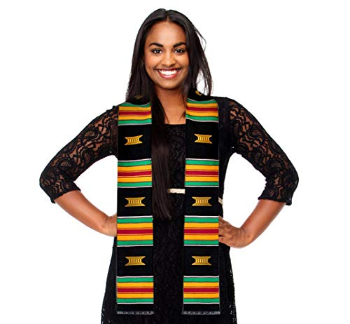 Royal Kente Cloth Graduation Stole with Traditional African Beads Bracelet. Look Amazing On Your Special Day