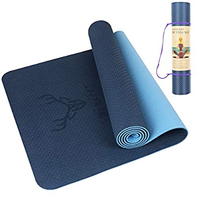"Windeer Yoga mat high Density Non Slip Work Out for Yoga Pilates, Anti-Water, SGS Certified TPE Material 72""x 26"" Thickness 1/4"" (Blue)"