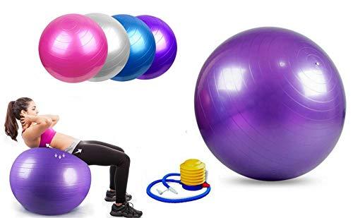 StabilyFoot Gymnastikball, 55 cm, 65 cm, 75 cm und 85 cm, Anti-Burst & extra dick, Schweizer Ball mit Pumpe, Geburtsball für Yoga, Pilates, Fitness, Schwangerschaft & Arbeit, violett, 65 cm