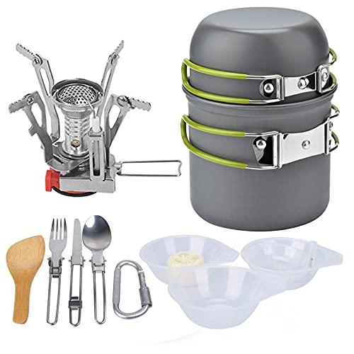SHHMA Kit de Utensilios de Cocina de Camping Estufa de Camping Plegable, Tetera de Pan para ollas sin paletas con Acero Inoxidable para cocinar al Aire Libre y Picnic,A