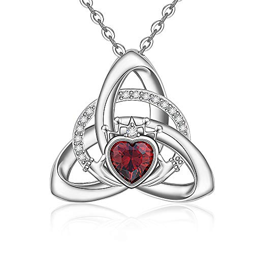Sterling Silver Mom Celtic Knot Necklace for Mother Daughter Grandma Wife Girls Women Matching Heart Claddagh Crown Crystal Ruby Pendant Valentine Mothers Day