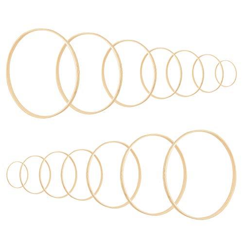 Huayue 14 Stück Traumfänger Ringe Bambus Floral Hoop Set Holz Stickrahmen Ringe Hoops Basteln Mobile Ring Makramee Craft Hoop Ringe für DIY Hochzeit Kranz Deko Traumfänger und Handwerk (7 Größe)