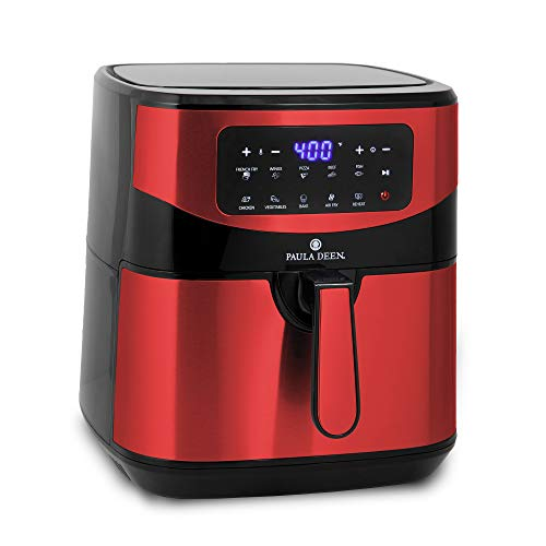Paula Deen Stainless Steel 10 QT Digital Air Fryer (1700 Watts), LED Display, 10 Preset Cooking Functions, Adjustable Time and Temperature, Ceramic Non-Stick Coating, Auto Shut-Off, 50 Recipes (Red Stainless)