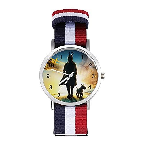 Adventures Tintin - Reloj de ocio para adultos con trenza de escala ajustable y elegante espejo de cristal de 1.6 pulgadas para hombres y mujeres