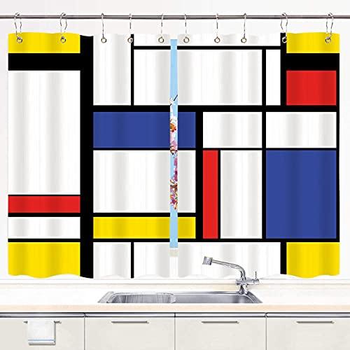 TISAGUER Cortina de Cocina,Patrón Azul Pintura Moderna Abstracta en Mondrian Colorido Bauhaus Geométrico,Cortinas de Bistro para Cortinas Opacas con Aislamiento térmico