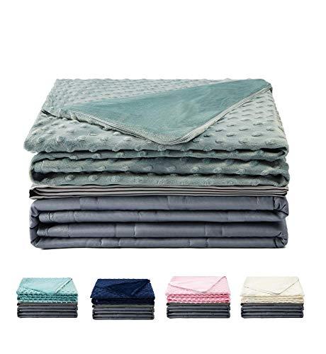 Haus Projekt Weighted Blanket Dunkelgrau mit Minky- & Bambus Überzüge, Gewichtete Decke Therapiedecke für Erwachsene & Kinder mit Angst, ADHS, Stress oder Insomnie (Grau, 150 x 200cm 15lb/6.8kg)