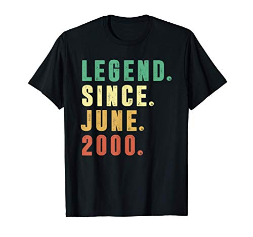Vintage June 2000 Retro 21 Years Old 21st Birthday Boys T-Shirt
