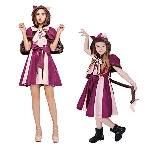 Disfraz Halloween Mujer Nia Adulto Plus Size Alicia En El Pas De Las Maravillas Ropa para Padres E Hijos Adultos,Prpura,AdultM
