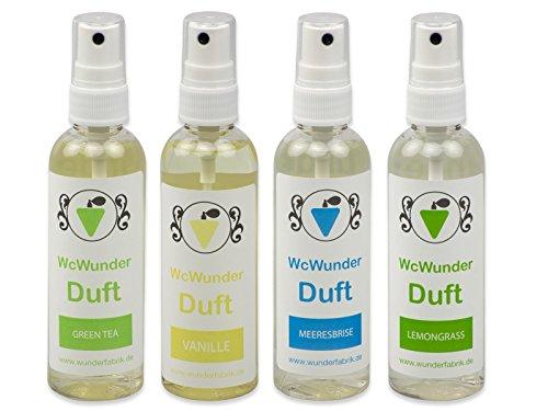 WcWunder WC Pure Toilettenduft, Toilettenparfüm, Geruchsblocker PET-Flasche (gemischt, 4 x 100ml)
