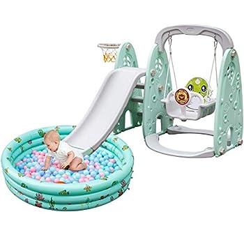 Happybuy Toddler Slide and Swing Set 5 in 1 Indoor Slide Fresh Green Toddler Slide Indoor with Basketball Hoop Ball Pool Toddler Slide and Swing Indoor Outdoor Backyard Playset Slides for Babies