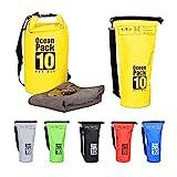 Relaxdays 10022783_48 Zaino Impermeabile Ocean Pack 10 L Borsa Stagna Dry Bag Sacca Ultraleggera per Kajak Vela Sci Giallo