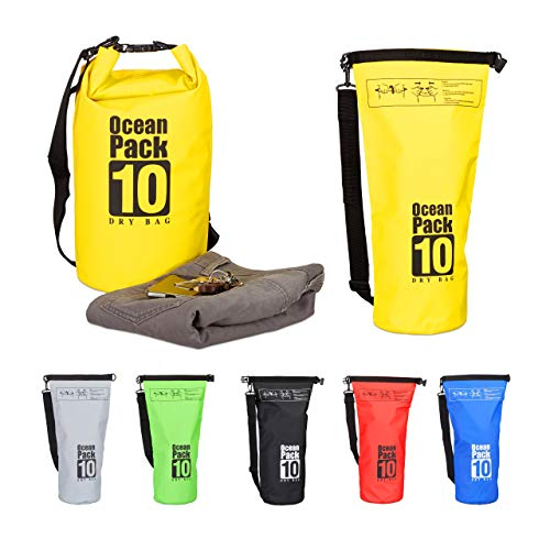Relaxdays Ocean Pack 10 L, wasserdichter Dry Bag, ultraleichter Trockensack für Kajak, Segeln, Rafting, Skifahren, gelb