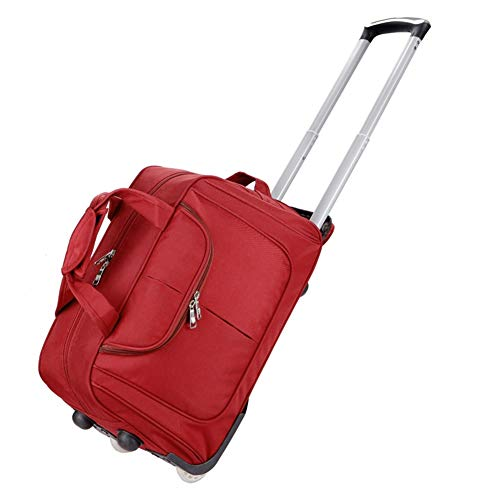 Adlereyire Laptop Trolley Bag Large-Capacity Stylish Lightweight Duffel Bag Convenient Rollers Waterproof Wear-Resistant Protection (Color : Red, Size : 472528cm)