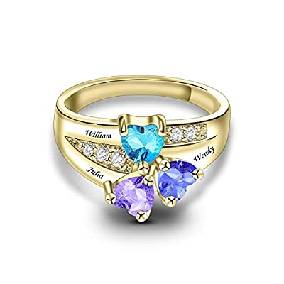 Personalized Sterling Silver Mothers Ring with 3 Simulated Birthstones for Mom Engraved Name Anniversary Rings for Mother Grandmother Anniversary Mother's Day (Gold)