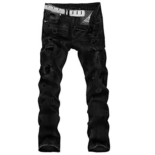 Beastle Pantalones Vaqueros para Hombre Lavados Casuales Pantalones Vaqueros Rectos Delgados Tendencia Europea y Americana Pantalones Rasgados con Personalidad 32