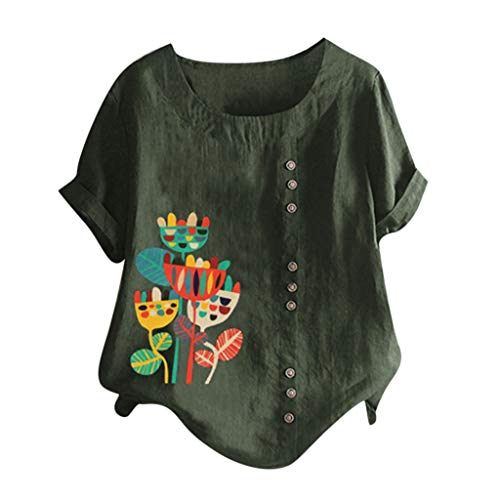 Lazzboy Frauen Beiläufige Plus Größen Oansatz Gedruckte Knopf Tunika Hemd Blusen Oberseiten Top Damen T-Shirt Kurzarm Basic Oversize Sommer Shortsleeve Tee Outdoor Party(Grün,2XL)