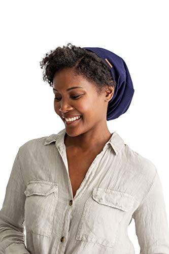 Grace Eleyae GE Sleep Cap | Slap Silky Adjustable Cap Stylish Premium Quality Beanie Hat Head Cover for Curly Hair Women Soft & Smooth One Size Fits All (Navy Blue)