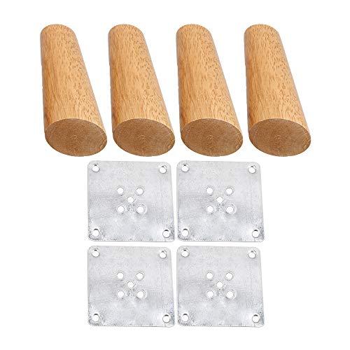4x Holzfarbe Schräg zulaufendes Möbelbein für Sofaschrank 12cm Höhe