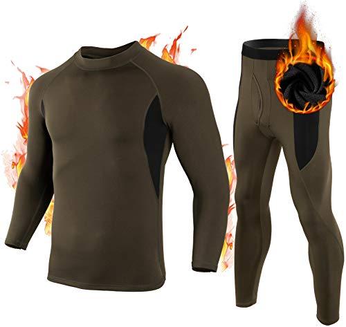Thermal Underwear Set for Men Ski Sport Base Layer Men Cold Weather Long Johns Tops Shirt Pants Set for Men Boys, Green S