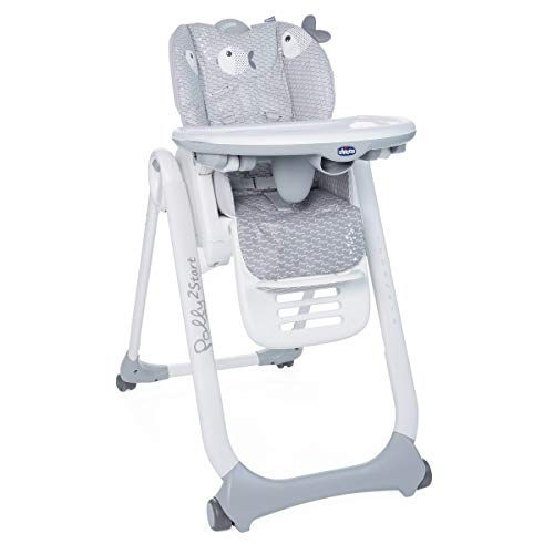 Chicco Polly2Star - Trona y hamaca transformable y compacta, con 4 ruedas y freno, de 0 a 3 años, diseño elefante gris (Baby Elephant)