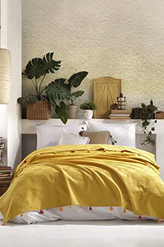 BOHORIA® Premium Tagesdecke Colors of Morocco - Oeko-TEX® | Bettüberwurf Wohndecke Wendedecke Kuscheldecke Sofadecke mit Tasseln | extra-groß 220 x 240 cm (Morrocan Sun)