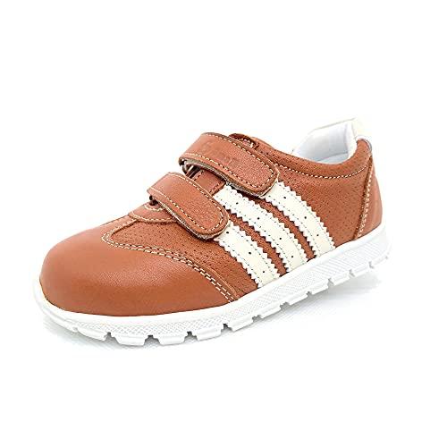 Smallfoot Zapatillas unisex 100% piel auténtica para niños y bebés, para interior y exterior, color Marrón, talla 26 EU