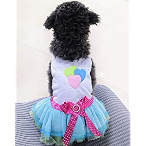 PIXRIY Dog Dress Tutu Skirt Princess Puppy Dress Vest Cute Spring Summer Pet Clothes Apparel for Small Dogs and Cats