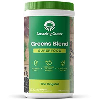 Amazing Grass Greens Blend Superfood  Super Greens Powder with Spirulina Chlorella Beet Root Powder Digestive Enzymes & Probiotics Original 60 Servings  Packaging May Vary