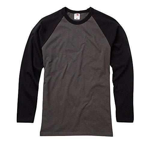 Fruit of the Loom - Kontrast Langarmshirt 'Longsleeve Baseball T' / Light Graphite/Black, XL