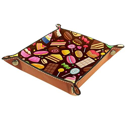 YATELI Caja de Almacenamiento pequeña, Bandeja de Valet para Hombre,Donut Chocolate Cupcake Lollipop,Organizador de Cuero para Llaves de Caja de Monedas