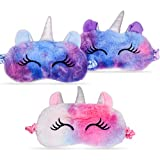 Unicorn Eye Mask Sleeping Girl Kids, 3 Pack Multicolor Cute Soft Plush Horn. Girls, Woman Comfortable Night Blindfolds.