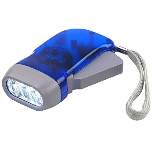 DIGIFLEX Batterielose Solar LED Taschenlampe mit Dynamo und 3 LEDs für Camping uto, Garage, Notfall, Stromausfall, – Tasche Größe -Blau - ideal für Kinder