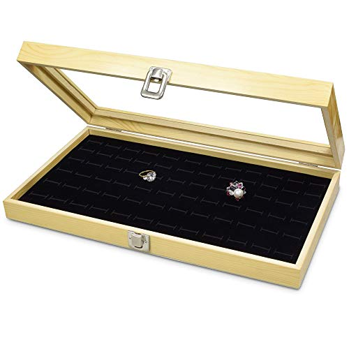 Mooca Wood Glass Top Jewelry Display Case, Wooden Jewelry Tray for Collectibles, Home Organization Storage Box with 72 Slot Compartments Black Ring Tray, Natural Wood Color