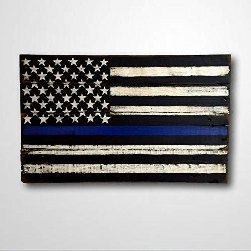 DONL9BAUER Letrero de madera fina de línea azul para colgar en la pared, oficial de policía presenta a las fuerzas del orden, graduación de policía, decoración del hogar para interiores y exteriores