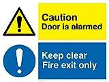 Viking Signs CV5408-A3L-V - Señal de advertencia con texto en inglés'Caution Door Is Alarmed, Keep Clear Fire Exit Only', vinilo/adhesivo, 400 mm de alto x 300 mm de ancho