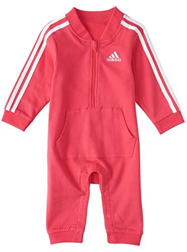 adidas - Mono de manga larga con capucha para bebé (rosa fresca, 18 meses)