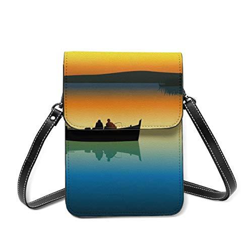 Cartera para teléfono celular con silueta de barco de pesca, puesta de sol océano monedero Crossbody Bolsas para las mujeres ligero bolso de hombro
