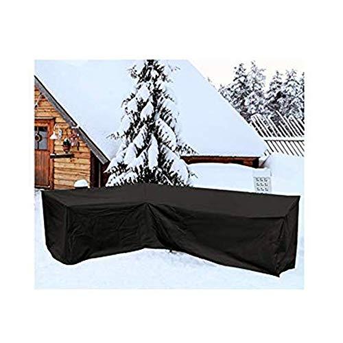 NINGWXQ Garden Furniture Cover Outdoor L Bank van de Hoek Bescherming zeildoek van Dust-proof Weer Resistance, 4 Maten (Color : Black, Size : 300x300x80x87cm)