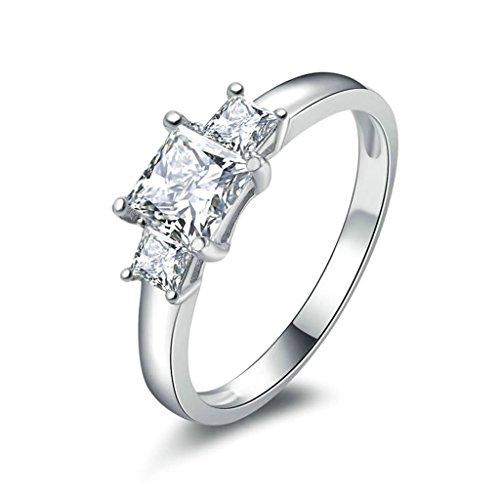 Daesar Silberring Damen Ring Silber Ehering für Damen Verlobungsring Benutzerdefinierte Ring 3 Platz Strass Ring Größe:53 (16.9)