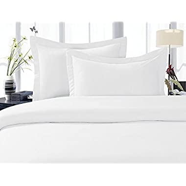 LinenTown 600-Thread-Count Egyptian Cotton Duvet Cover Set - King, White Solid