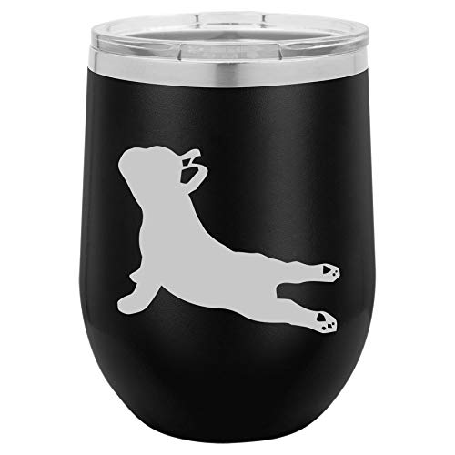 12 oz Double Wall Vacuum Insulated Stainless Steel Stemless Wine Tumbler Glass Coffee Travel Mug With Lid French Bulldog Yoga (Black)