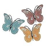 Crazyfly Juego de 3 piezas de mariposa para colgar en la pared, diseño de mariposa de metal, pintado a mano, decoración vintage para barra de puerta