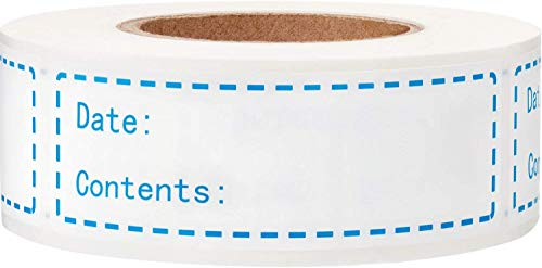 """1x3"""" Kitchen Date roll Paper Label Waterproof Food Storage Label blank stickers Removable Food Storage Labels Freezer Labels Adhesive Paper Labels,Labels for Food containers(1Roll,Blue,200pcs)"""