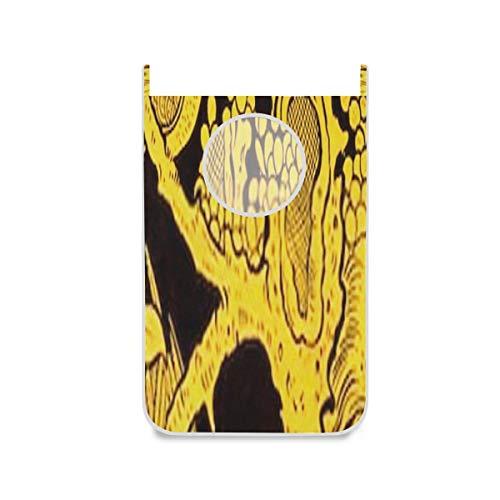 ZANSENG Wäschekorb, Wandmalerei Kunst auf Blatt buddhistischen Zip Wäschekorb Tür hängen mit Edelstahlhaken, 420d Oxford Tuch Tür Wäschekorb