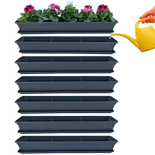 Juego de 6 jardineras para balcón, color antracita, con sistema de riego y platillo, 100 cm