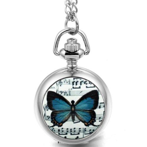 JewelryWe Damen Herren Taschenuhr Emaille Weiß Musik Schmettling Uhranhänger Quartz Legierung Kettenuhr Uhr Halskette