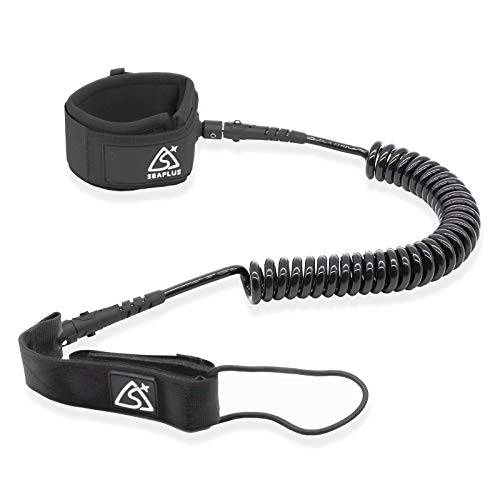 SUP Leash, Surfboard Leash, Coiled SUP Leash, 9Feet 7mm Cord with Padded Neoprene Ankle Cuff and Double Swivels Anti-Rust for Surfing